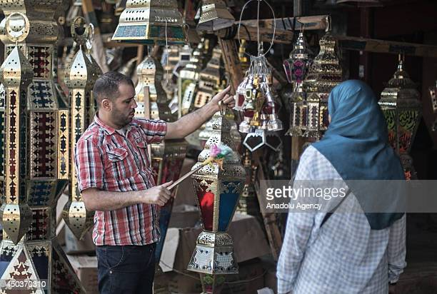 Ramadan lanters arouse Egyptian people's interest in Cairo on June 10 2014 Traditional lanterns used by Egyptians to decorate during the holy month...