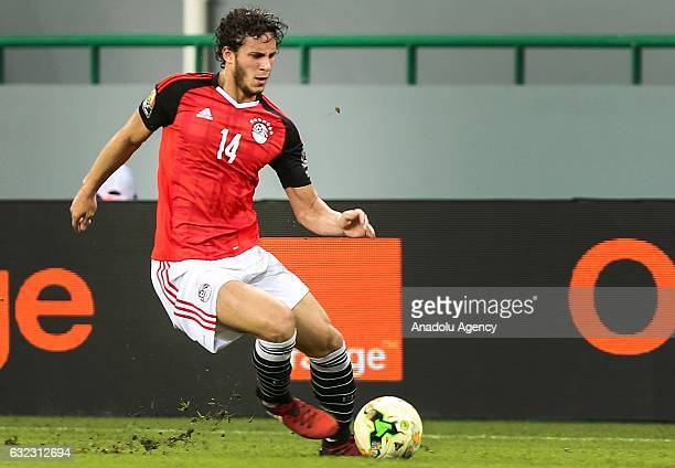Ramadan Sobhi of Egypt in action during the African Cup of Nations 2017 Group D football match between Egypt and Uganda at PortGentil Stadium in...