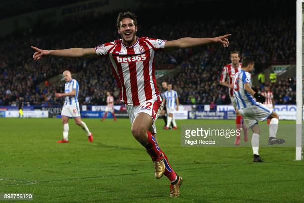 Ramadan Sobhi of Stoke City celebrates after scoring his sides first goal during the Premier League match between Huddersfield Town and Stoke City at...