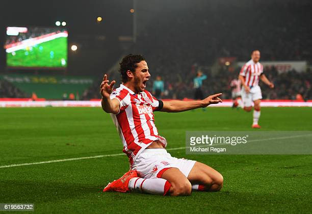 Ramadan Sobhi of Stoke City celebrates as his shot leads to an own goal by Alfie Mawson of Swansea City for their second goal during the Premier...