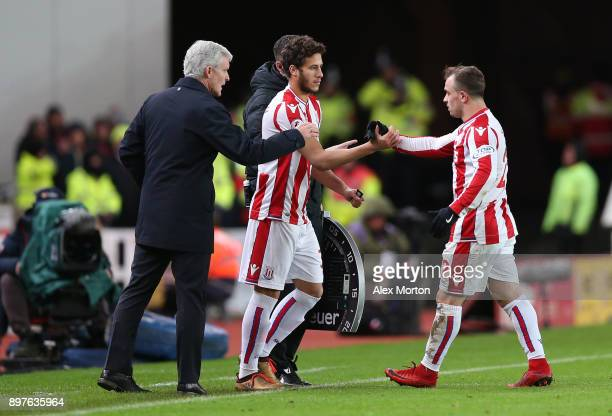 Ramadan Sobhi of Stoke City comes on for Xherdan Shaqiri of Stoke City during the Premier League match between Stoke City and West Bromwich Albion at...