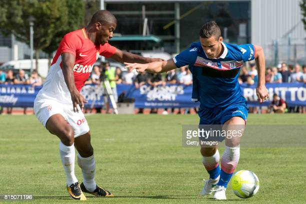 Ramadan Sobhi of Stoke City competes with Almamy Toure of AS Monaco during the friendly match between AS Monaco and Stoke City at Stade d'Octodure on...