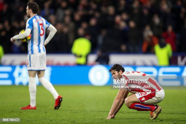 Ramadan Sobhi of Stoke City dejected at full time during the Premier League match between Huddersfield Town and Stoke City at John Smith's Stadium on...