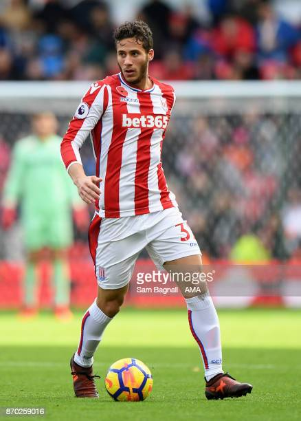 Ramadan Sobhi of Stoke City during the Premier League match between Stoke City and Leicester City at Bet365 Stadium on November 4 2017 in Stoke on...