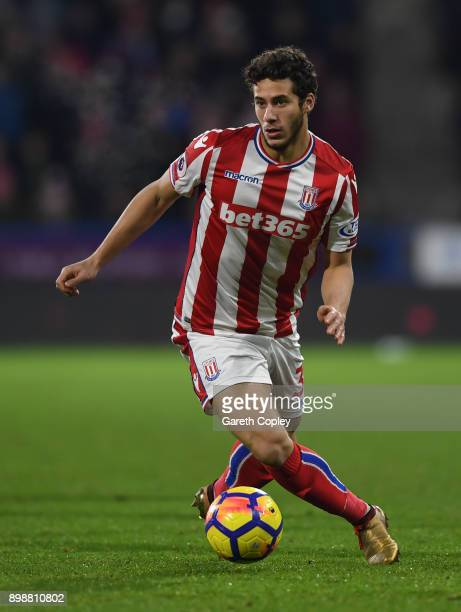 Ramadan Sobhi of Stoke City during the Premier League match between Huddersfield Town and Stoke City at John Smith's Stadium on December 26 2017 in...