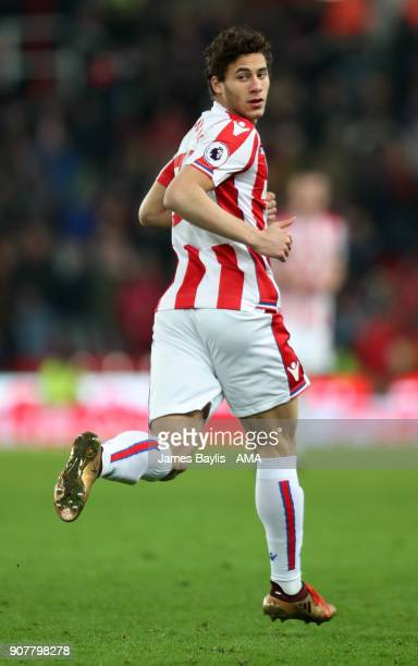 Ramadan Sobhi of Stoke City during the Premier League match between Stoke City and Huddersfield Town at Bet365 Stadium on January 20 2018 in Stoke on...