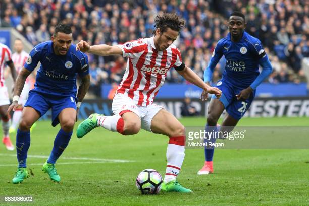 Ramadan Sobhi of Stoke City in action during the Premier League match between Leicester City and Stoke City at The King Power Stadium on April 1 2017...