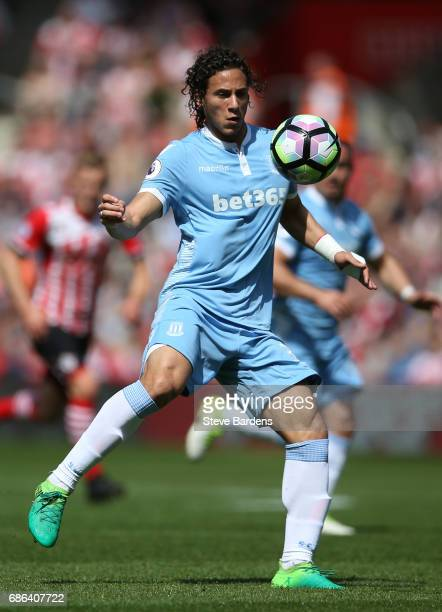 Ramadan Sobhi of Stoke City in action during the Premier League match between Southampton and Stoke City at St Mary's Stadium on May 21 2017 in...