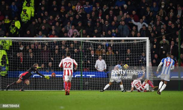 Ramadan Sobhi of Stoke City scores his sides first goal during the Premier League match between Huddersfield Town and Stoke City at John Smith's...