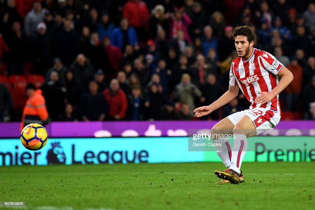 Ramadan Sobhi of Stoke City scores his sides third goal during the Premier League match between Stoke City and West Bromwich Albion at Bet365 Stadium on December 23, 2017 in Stoke on Trent, England.