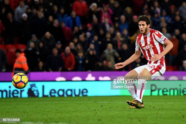 Ramadan Sobhi of Stoke City scores his sides third goal during the Premier League match between Stoke City and West Bromwich Albion at Bet365 Stadium...
