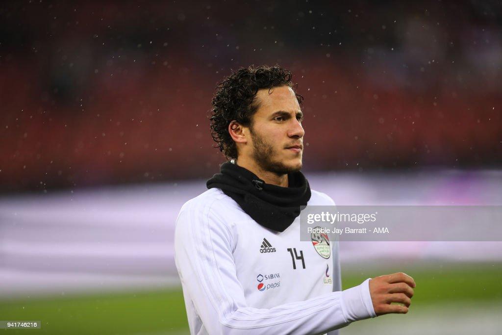 Ramadan Sobhy of Egypt during the International Friendly match between Egypt and Greece at Stadion Letzigrund at Letzigrund on March 27, 2018 in Zurich, Switzerland.
