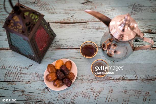 ramadan table with lantern - uae heritage stock photos and pictures