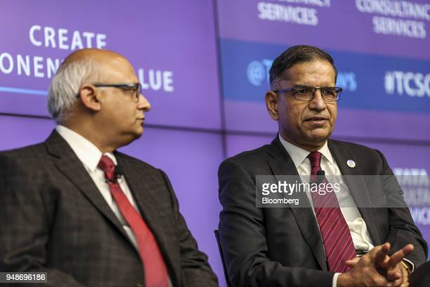 V Ramakrishna chief financial officer of Tata Consultancy Services Ltd right speaks as N Ganapathy Subramaniam chief operating officer and executive...