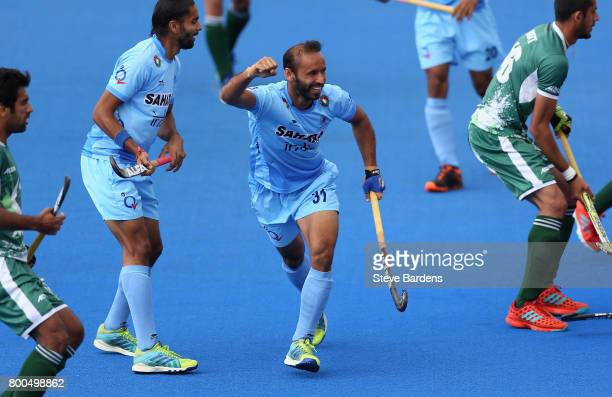 Ramandeep Singh of India celebrates scoring their teams first goal during the 5th8th place match between Pakistan and India on day eight of the Hero...