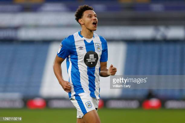 Ramani Edmonds-Green of Huddersfield Town celebrates his goal during the Sky Bet Championship match between Huddersfield Town and Watford at John...