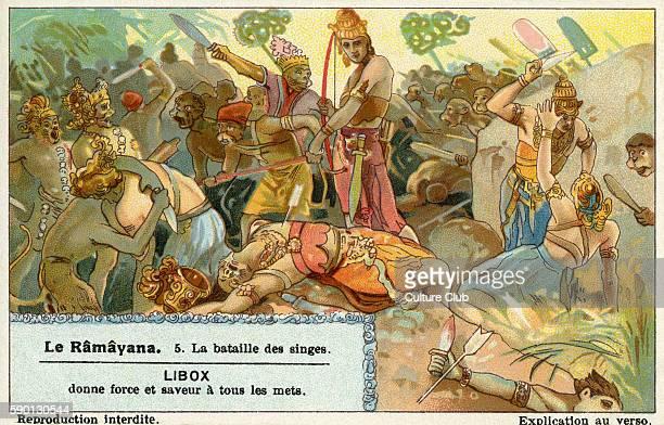 Ramayana Sanskrit epic poem ascribed to Valmiki Battle of the monkeys Liebig collectors' card 1931