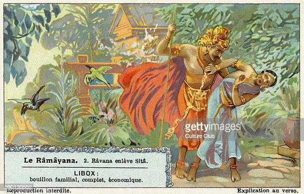 Ramayana Sanskrit epic poem ascribed to Valmiki Ravana kidnaps Sita Liebig collectors' card 1931