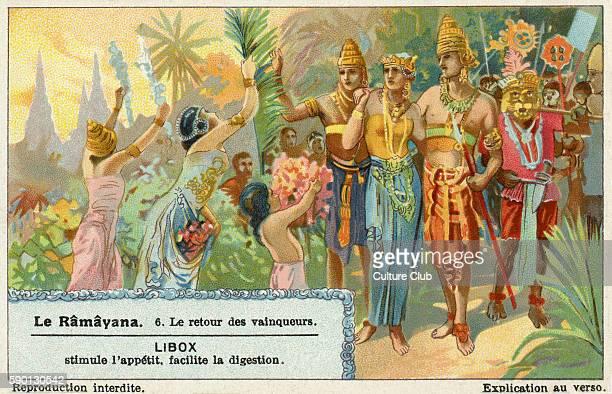Ramayana Sanskrit epic poem ascribed to Valmiki Return of the victors Rama Hanuman and Sita Liebig collectors' card 1931