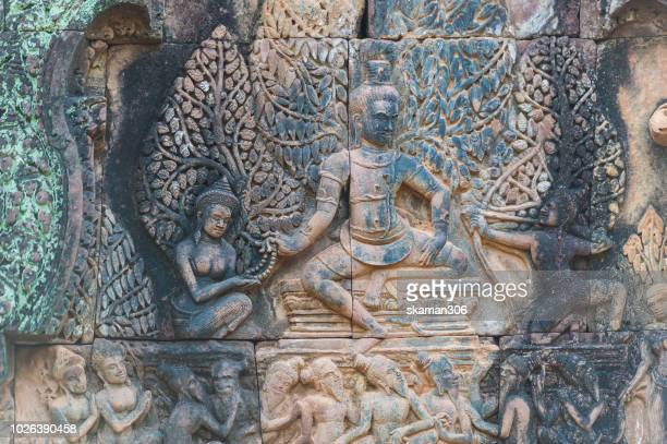 july 2014 siemreap cambodia ramayana stone carving at banteay srei temple near angkor wat siemreap cambodia - khmer art stock photos and pictures