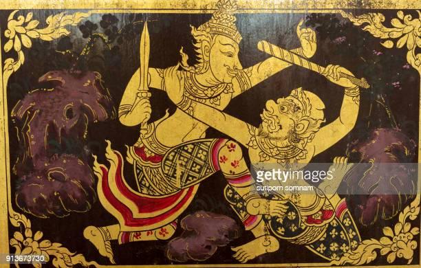 ramayana thai tradition pattern - vishnu stock photos and pictures