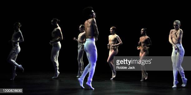 Rambert company artists in the Rambert/Royal Ballet production of Sharon Eyal's Aisha and Abhaya at The Linbury Theatre on January 18 2020 in London...