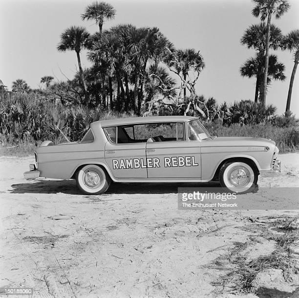 Rambler Rebel on the sand near Daytona Beach during Speed Weeks Rambler's highperformance car features a midsized sedan with a big block 327 cubic...
