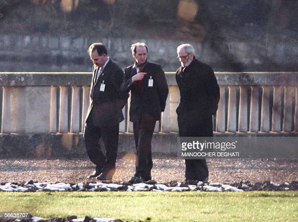 Ethnic Albanian moderate leader Ibrahim Rugova and the chairman of the United Democratic Movement Redxep Qosja take a walk in the park of the Chateau...