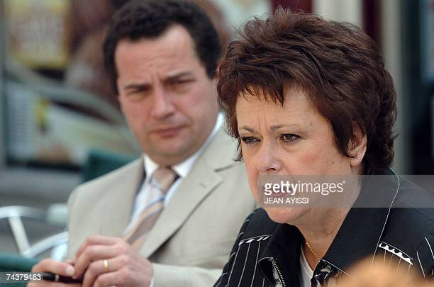 Housing minister and candidate for the 10th constituency in the Yvelines Chistine Boutin delivers a speech next to her substituting and Mayor of...