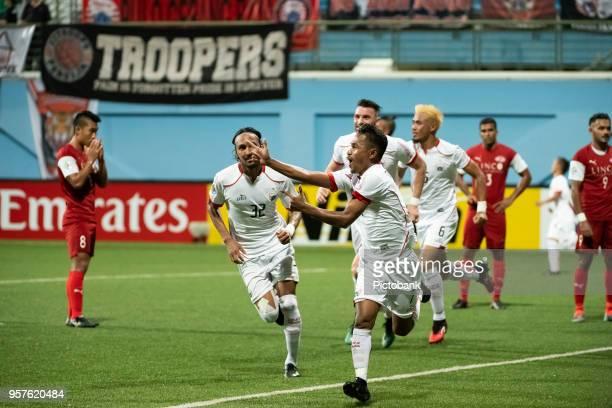 Ramdani Lestaluhu Simanjuntak of Persija Jakarta celebrates scoring a goal during the AFC Cup Zonal Semi final between Home United and Persija...