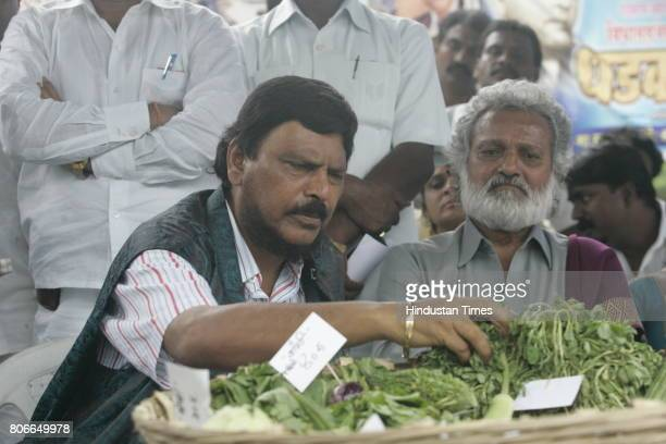 Ramdas Athawale and Jogendra Kawade during a protest organised by Republican Party of India at Azad Maidan in Mumbai on Friday
