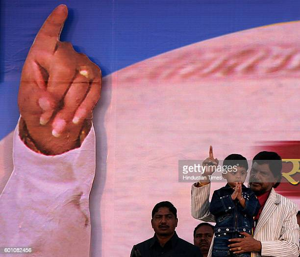 Ramdas Athawale RPI president Ramdas Athavale with his son Jeet at the Samta Sandesh Morcha on Sunday afternoon at Shivaji Park