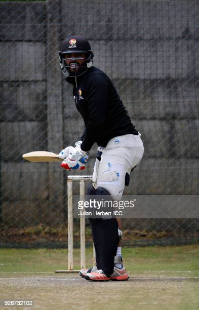 Rameez Shahz of The UAE cricket team practices at The Harare Sports Club during The ICC Cricket World Cup Qualifier at on March 3 2018 in Harare...