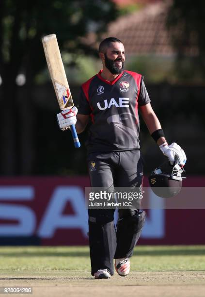 Rameez Shahzad of The UAE acknowledges his century during The ICC Cricket World Cup Qualifier between The West Indies and The UAE at The Old...