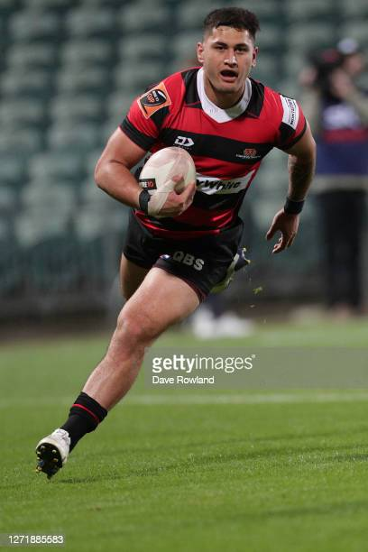 Rameka Poihipi of Canterbury runs home a try during the round 1 Mitre 10 Cup match between North Harbour and Canterbury at North Harbour Stadium on...