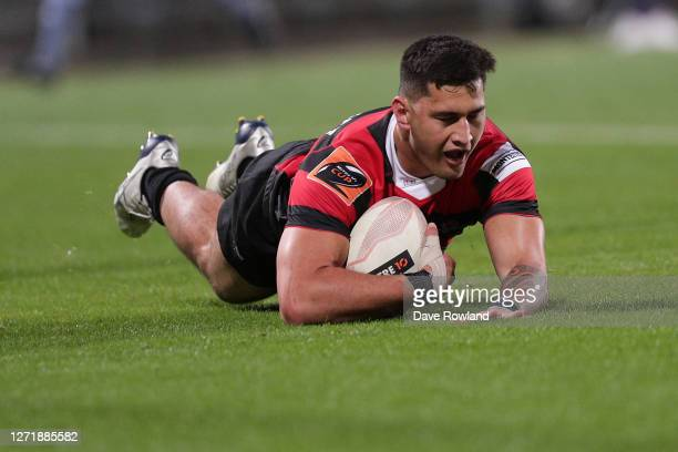 Rameka Poihipi of Canterbury scores a try during the round 1 Mitre 10 Cup match between North Harbour and Canterbury at North Harbour Stadium on...