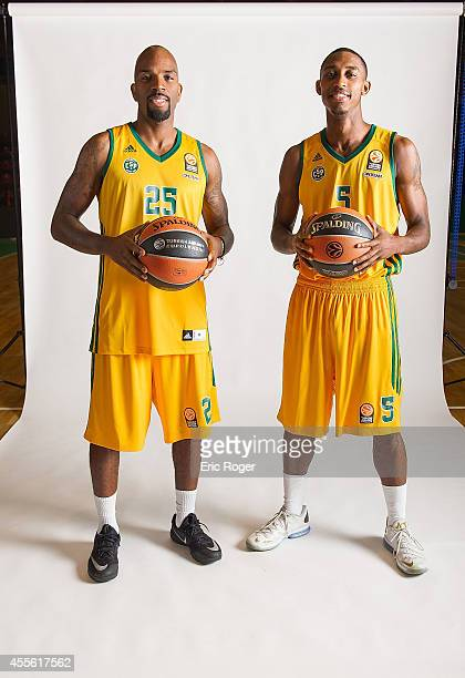 Ramel Curry #25 of Limoges CSP and Jamar Smith #5 poses during the Limoges CSP 2014/2015 Turkish Airlines Euroleague Basketball Media Day at...