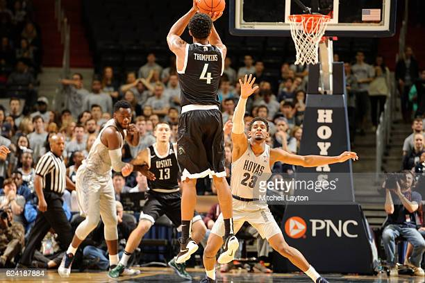 Ramel Thompkins of the USC Upstate Spartans takes a jump shot during a college basketball game against the Georgetown Hoyas at the Verizon Center on...