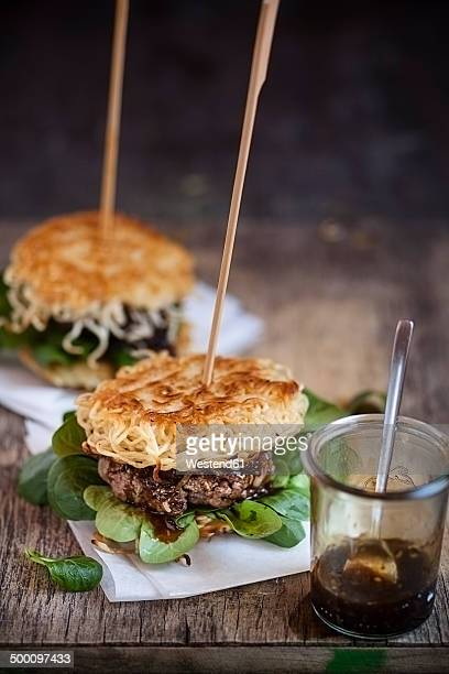 Ramen burgers, with beef patties and lamb's lettuce