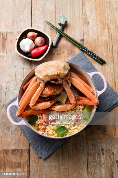 ramen noodles with red crab - chilli crab stock photos and pictures