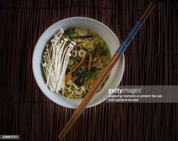 ramen - enoki mushroom stock pictures, royalty-free photos & images