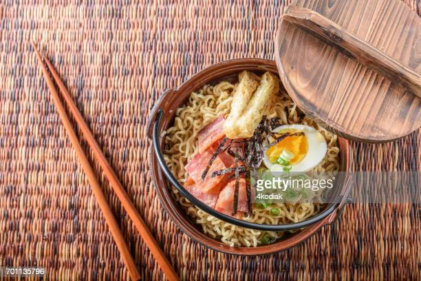 ベーコンとゆで卵、ラーメンに海苔が細断処理