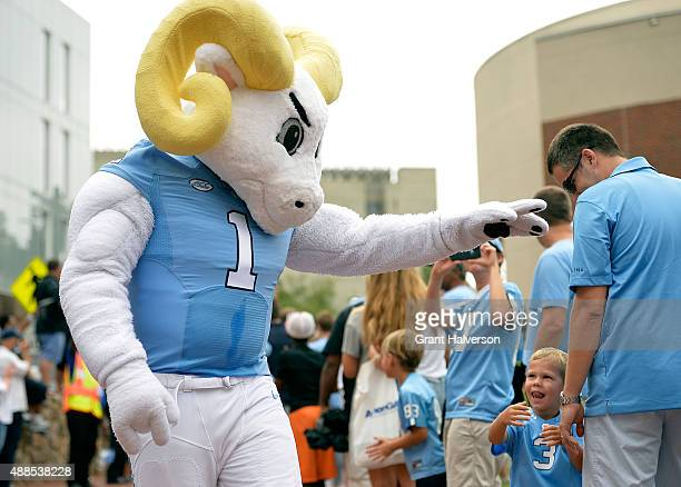 Rameses mascot of the North Carolina Tar Heels interacts with fans during their game against the North Carolina AT Aggies at Kenan Stadium on...