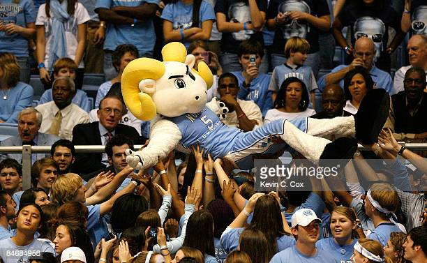 Rameses mascot of the North Carolina Tar Heels is passed around the student section during the game against the Virginia Cavaliers on February 7 2009...