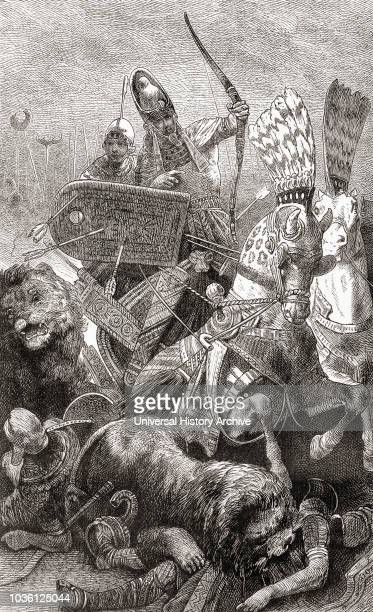 Ramesses II at the Battle of Kadesh aka Battle of Qadesh between the Egyptian Empire and the Hittite Empire 1274 BC From Ward and Lock's Illustrated...