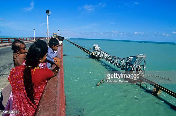 Rameswaram is located on an island separated from mainland India View of the Pamban Bridge