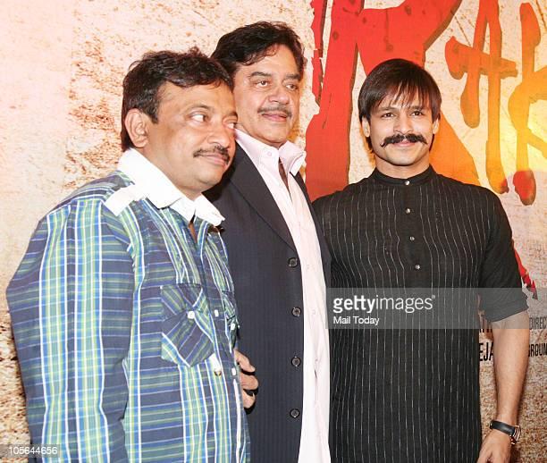 Ramgopal Varma Shatrughan Sinha and Vivek Oberoi at an press event of the film Raktvharitra in Mumbai on Friday October 15 2010