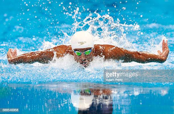 Rami Anis of the Refugee Olympic Team competes in Men's 100m Butterfly heat on Day 6 of the Rio 2016 Olympic Games at the Olympic Aquatics Stadium on...
