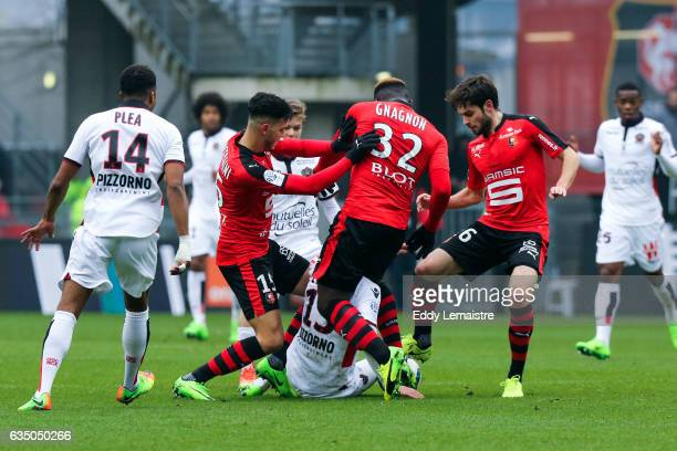 Rami Bensebaini and Joris Gnagnon of Rennes during the Ligue 1 match between Stade Rennais and OGC Nice at Roazhon Park on February 12 2017 in Rennes...