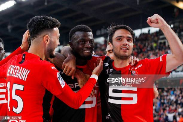Rami Bensebaini Clement Grenier Mbaye Niang of Rennes celebrate his goal during the Ligue 1 match between Stade Rennais football club and LOSC Lille...